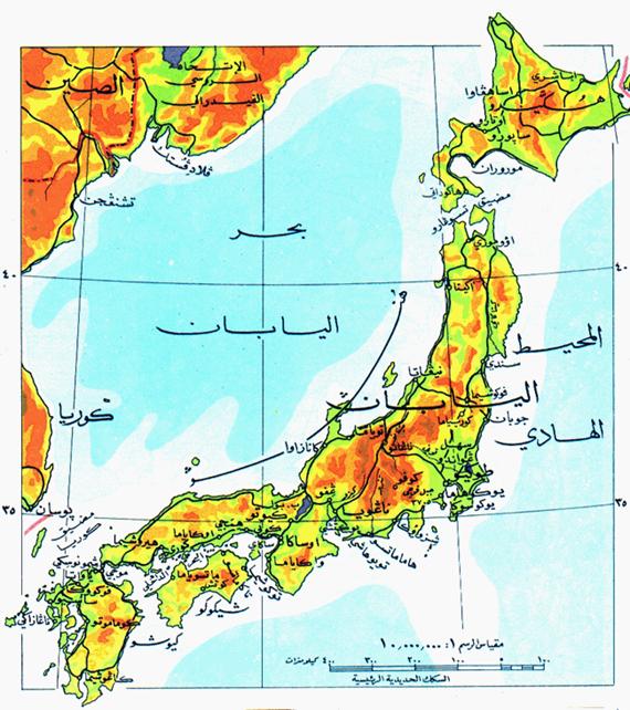 خريطة اليابان الطبيعية